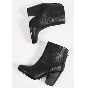RAG & BONE Newbury Black Leather Ankle Bootie 37